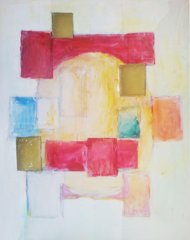 étude- moderne, mixed media on canvas, resin, 100 x 80