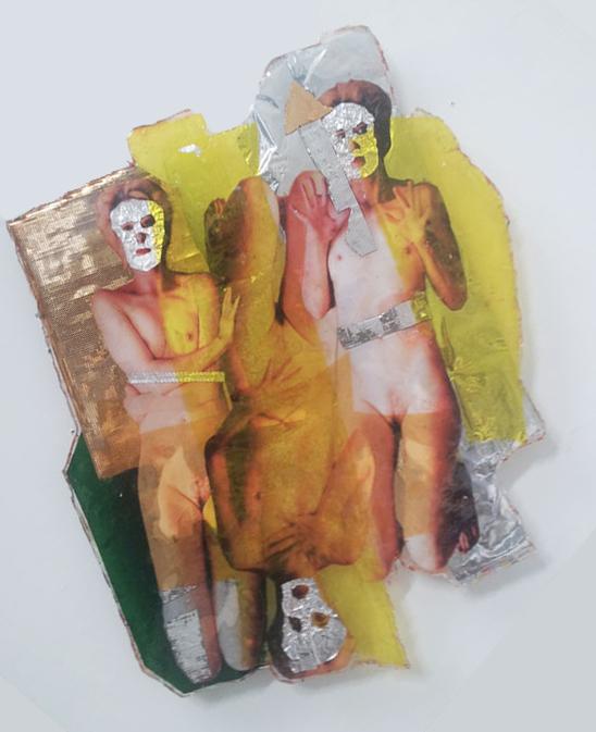 katharina razumovsky, epoxy, thretimesyesandthreetimesno, resin, foils, 40 x 30, 2014