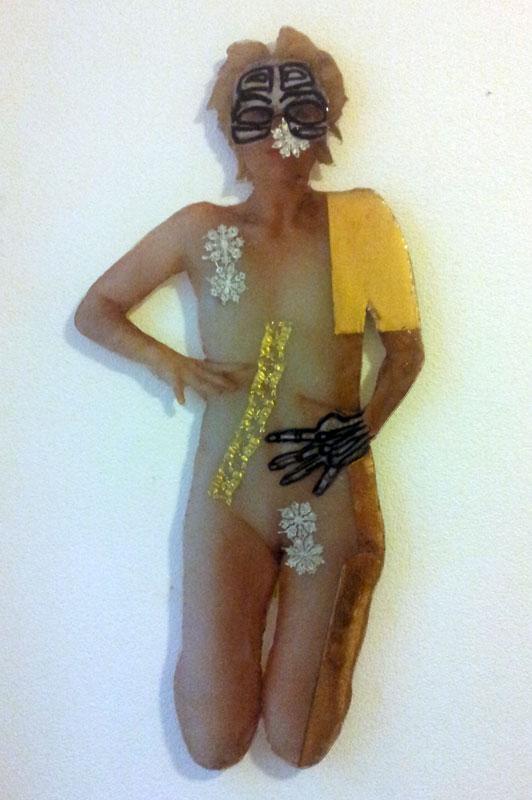 the artist-magician I, fotografy, folds, epoxy, 130 x ca 60x 0,5, 2014